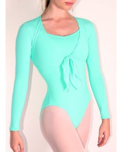 Formed Movement Dance Training  - Mint Front-Tie Long-Sleeved Warmer